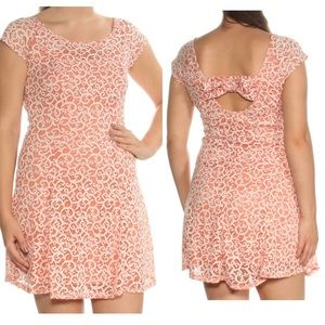 Bebop Coral & White Two-Toned Lace Back Bow Dress